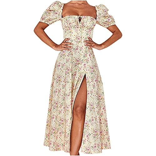 Women Summer Long Dress Puff Sleeves Tube Top One Collar, Side Slits Hem Floral Print Slim Long Dress Beige