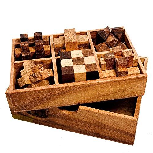 6 Juegos Rompecabezas Madera Noble Juegos de Ingenio en Elegante Caja