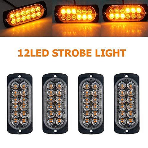 BJZP LED kühlergrill Beleuchtung,12LED Warnblinklicht Blitzer Leuchte Stroboskop Warnlicht Bernstein Universal für 12-24 V Caravan Reisemobil