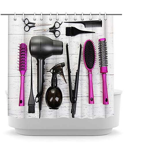 Fashion Decor Makeup Shower Curtain Hair Salon Accessories Curtain Cosmetic ,Haircut Equipment Art for Bathroom Black Hair Dryer and Pink Comb Pattern with 12 Hooks 72x72 inches