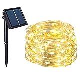 Salcar string lights LED Solar 20m LED light wire, exterior 200s garden LED decorativo, iluminación exterior cable de cobre LED light string impermeable con energía solar - blanco cálido