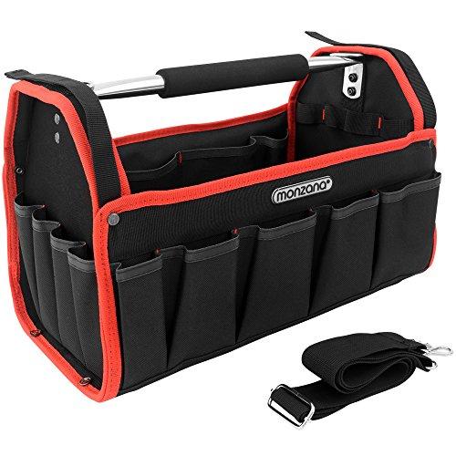 Monzana Werkzeugtasche XL 42cm inkl. Schultergurt stabile Tragestange Montagetasche Werkzeugbox Werkzeugkasten
