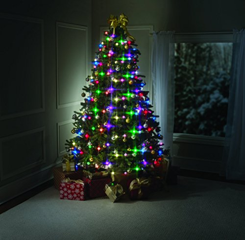 BestofTv Tree Dazzler, como en la TV - Anillo para árbol de Navidad con 64bombillas luminosas y mando a distancia, verde, 180cm