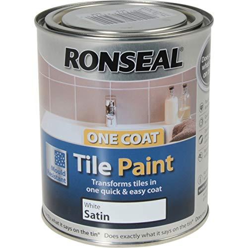 Ronseal One Coat Tile Paint - Brilliant White - 750ml