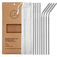 YIHONG FBA_USYH010001 Set of 8 Stainless Steel Straws, 11 Piece Set, Silver