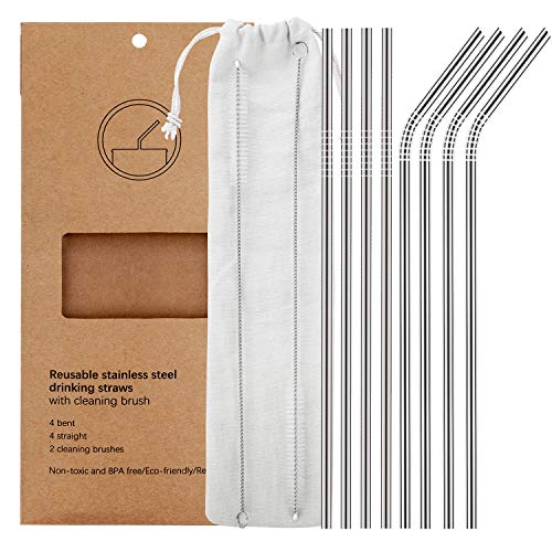 Set of 8 Reusable Stainless Steel Metal Straws