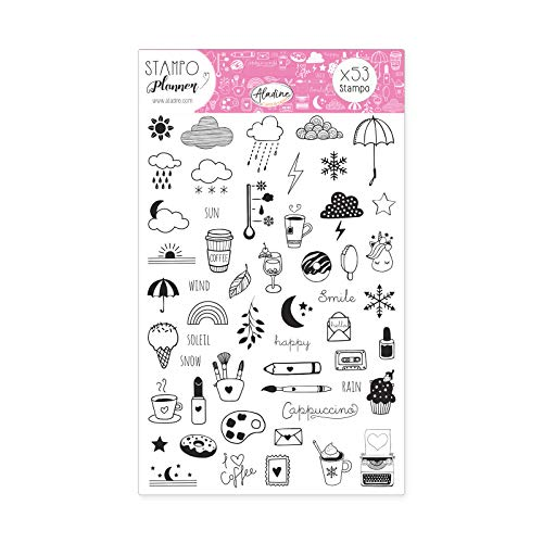 Aladine - Stampo Planner Girly - Planche de Tampons Bullet Journal - Scrapbooking et DIY - Personnalisez vos Agendas et Carnets - Kit de 53 Tampons Motifs Girly