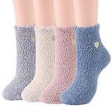 Zando Womens Fuzzy Socks Winter Slipper Socks Warm Christmas Fuzzy Socks Cute Fleece Socks Cozy Microfiber Socks Indoor Sleep Socks Super Soft Fluffy Socks for Girls 4 Pairs Cute Heart One Size