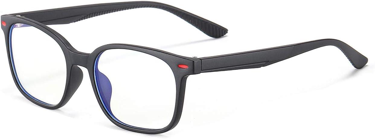 MAXJULI Kids Blue Light Blocking Glasses - Anti Eyestrain - Video Computer Gaming Eyeglasses for Boys & Girls - TR90 Square Flexible with Rivets Frame Eye Glasses(Matte Black)