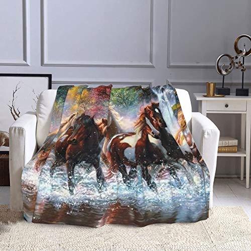 Manta de forro polar de indios nativos americanos indios caballos manta ultra suave cálida manta de felpa para sofá cama, oficina y sala de estar 50 pulgadas x 60 pulgadas