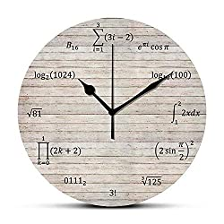 Dadidyc Wall Clock Vintage Wood Math Equations and Notations Print Pattern Round Clock Silent Non-Ticking Wall Clock Desk Clock Unique Decorative for Home Living Room Bedroom School Clock 10in