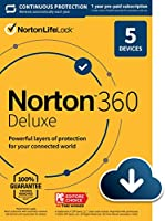Norton 360 Deluxe 2021 – Antivirus software for 5 Devices with Auto Renewal - Includes VPN, PC Cloud Backup & Dark Web...
