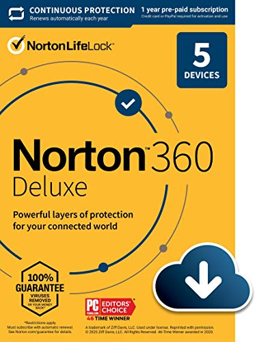 Norton 360 Deluxe 2021 – Antivirus software for 5 Devices with Auto Renewal - Includes VPN, PC Cloud Backup & Dark Web Monitoring powered by LifeLock [Download]