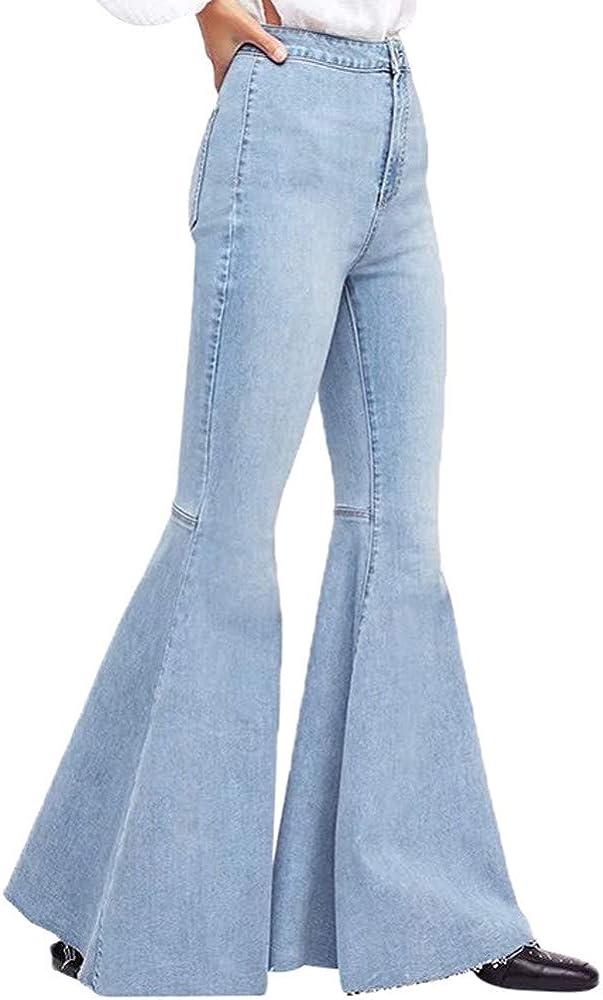 Fudule Women Pants Clearance,Womens Denim High Waist Wide Leg Hole Jeans Hot Pants Button Tassel Bell-Bottom Pants