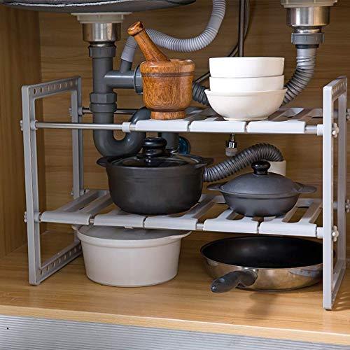JIAJBG Accesorios de Cocina Gris Debajo Del Fregadero Organizador, 2 Tier Bastidor Expansible Multifunción de Alenamiento de Cocina Gabinete de Baño Bastidores fuerte y resistente