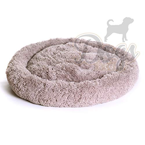 Luxe katten & hondenmand - Donut - Heerlijk zacht - Fluffy - Khaki Bruin -100 cm - Size L