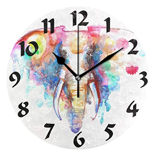 WELLDAY Elephant Theme Silent Non Ticking Round Wall Clock Home Arabic Numerals Watercolor Elephant Design Decorative Creative Clock