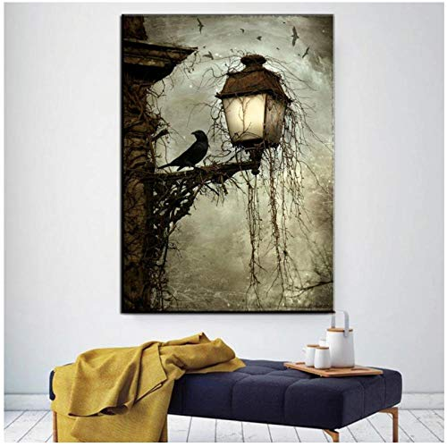 FUXUERUI Halloween Decor Poster Crow Abandoned Castle Posters and Prints Ghost Festival Living Room Home Decor Wall Art Painting 50x70cm no Frame