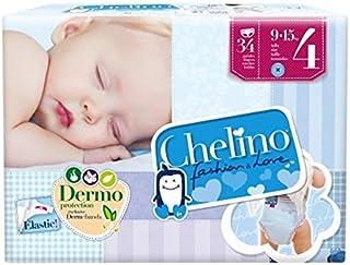 Chelino Fashion & Love - Pañales para bebés con un peso comprendido entre 9 y 15 kilos, Talla 4, 6 packs de 34 (204 pañales)
