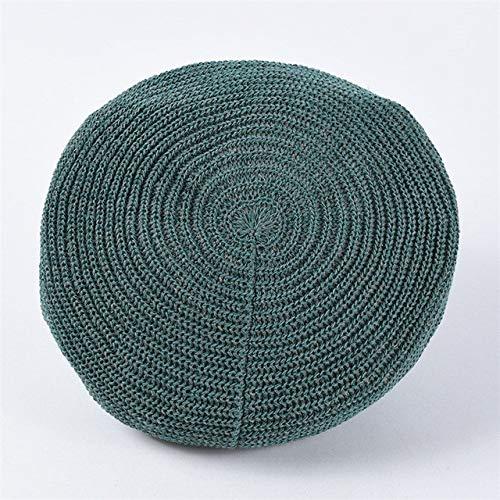 HRS Primavera Verano Mujeres Boinas de Punto Señoras Gorra Plana sólida Moda Crochet Gorras francesas Estrellas Painter-Green