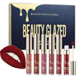 Beauty Glazed Lipstick Set Matte Lip Stick Packs Stain Long Lasting Waterproof Lip Kit Butter Lip Gloss 6pcs Set
