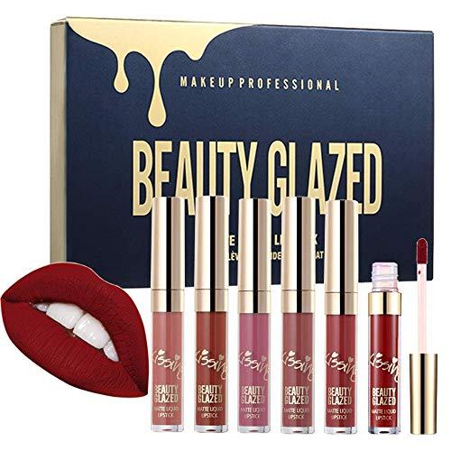 Beauty Glazed Lipstick Set Matte Lip Stick Packs Stain Long Lasting Waterproof Lip Kit Butter Lip Gloss 6pcs Set