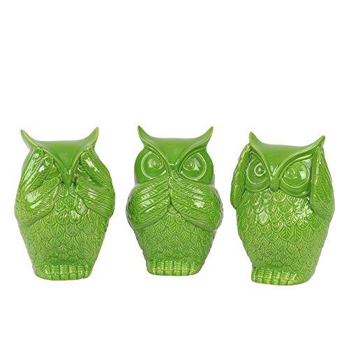 Urban Trends Ceramic Owl No Evil, Assortment of Three, Gloss Lime Green