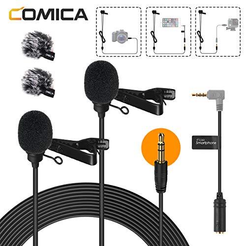 Comica カメラ/スマホマイク-ピンマイク-全指向性-コンデンサーマイク 高音質 集音マイク 二人用可能 デジタル一眼レフカメラ/ビデオカメラ/オーディオレコーダー/PC/スマホ等に対応 ビデオ会議 YouTube 宅録用マイク 2.5mケーブル CVM-D02日本語サポート&一年保証