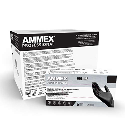 AMMEX Black Nitrile Exam Gloves, Case of 1000, 3 Mil, Size Large, Latex Free, Powder Free, Textured, Disposable, Non-Sterile, Food Safe, ABNPF46100