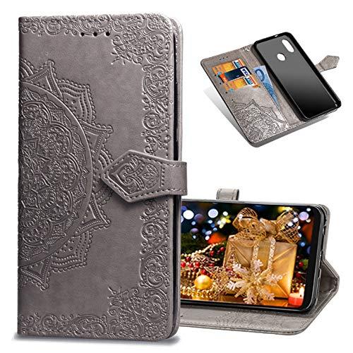 MRSTER Coque Xiaomi Mi A2 Lite, Mandala Emboss [Stand Support] [Porte-Cartes de Crédit] [Fermeture Magnétique] Portefeuille Étui Housse Coque pour Xiaomi Mi A2 Lite. SD Mandala Gray