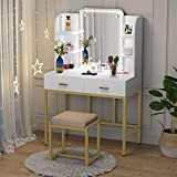Vanity Set with LED Lighted Mirror and Cushioned Stool, Large Vanity Table Dressing Table Desk with Storage Shelves and 2 Drawers for Bedroom (Gold/w Lights)