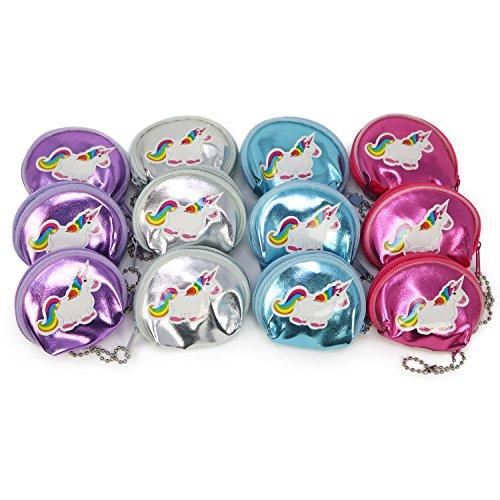com-four® 12x Mini Geldbörse mit Einhorn Sticker, Portemonnaie in pink, lila, blau und silberfarben, 6,5 x 6 cm (12 Stück - Einhorn)