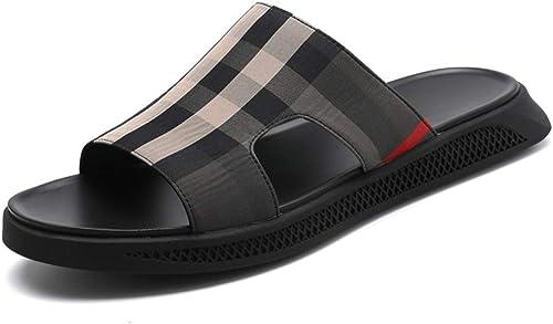 Sandales Chaussures Homme Chaussures de Plage Chaussures de Plein air pour Hommes en Cuir à la Cheville avec Bride à la Cheville de Sport pour Hommes Chaussures
