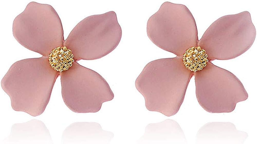 GRACE JUN Enamel Paint Clover Leaf Clip on Earrings No Pierced for Women Party Wedding Charm Ear Clip