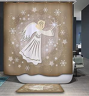 GoJeek Angel Shower Curtain, Heavenly Shine Light Kids Angel Wings Christian Bathroom Decor