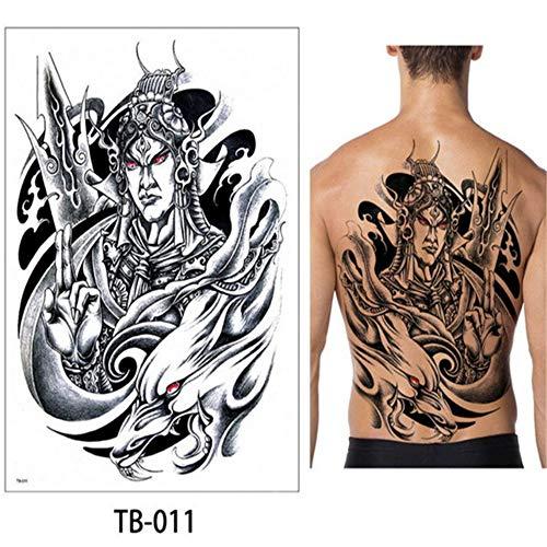tzxdbh 3pcs Tatuaje Temporal de Las Mujeres Tatuaje Grande Geisha Tatuajes Chinos Arte Corporal Grande Espalda Tatoo Color de Agua Tatuaje extraíble Impermeable 3 unids-