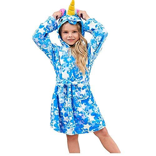 ZHANG badjas (blauw), kinderen eenhoorn badjas met capuchon badjas met capuchon ochtendjas zachte flanel met capuchon badjas kinderen met capuchon nachtkleding