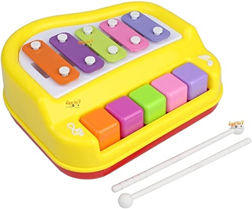 CEEJAY Musical Xylophone and Piano Baby Xylophone Musical Instrument Non Toxic Non Battery for Kids Toddlers Musical Toys for Kids 3 Years Multi Color