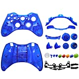 OSTENT Replacement Case Shell & Buttons Kit Compatible for Microsoft Xbox 360 Wireless Controller - Color Blue