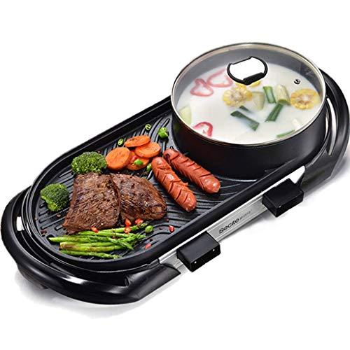 Grill électrique Maison sans fumée intégré Multifonction antiadhésif Barbecue Machine Hot Pot Barbecue intégré Hot Pot Double contrôle de la température