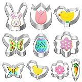 VHAUSE, set di stampi per biscotti pasquali in acciaio inox, 5 grandi e 5 piccoli antiaderenti per biscotti, uova, pulcino, coniglio, carota, fiori, farfalle, per adulti e bambini