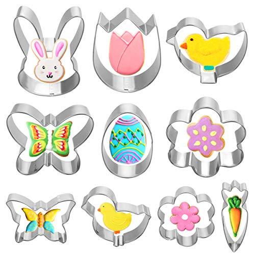 VHAUSE 10 Stück Ostern Ausstechformen Edelstahl - 5 Große und 5 Kleine Ausstecher Set mit Ei Küken Hase Karotte Blume Schmetterling Formen - Perfekt für Oster Plätzchen Keks Backen mit Kinder