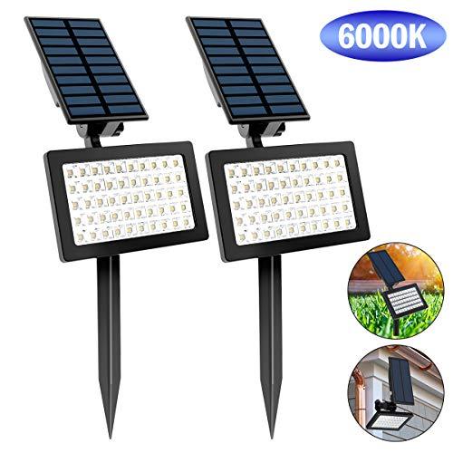 T-SUN 50 LED Luci Solari da Esterno, Wireless Lampada Solare da Giardino con 2 Livelli di Luminosità, 6000K, IP65 impermeabile Lampada Solare da Sicurezza per Giardino, Sentiero, Prato. (2 Pezzi)