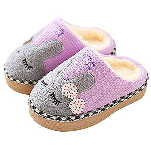 SITAILE Jungen Mädchen Winter Pantoffeln Slippers Schuhe mit Plüsch gefüttert Wärme Weiche rutschfeste Hausschuhe Für Kinder Baby  , 01 Lila , 31/32 EU (Herstellergröße 22)