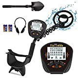 MINIMALISM Professional Metal Detector for Adults & Kids High Precision Adjustable Waterproof Metal Detector with LCD Display with Pinpoint & Disc & All Metal Mode 10' Search Coil Waterproof
