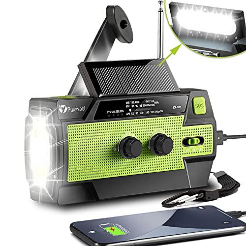 [2021 Newest] Emergency-Hand-Crank-Radio,4000mAh Portable Weather Solar Radios with Motion Sensor Reading Lamp,3 Gear LED Flashlight,SOS Alarm,Cell Phone Charger,AM/FM/NOAA (Green, 4000 mAh)