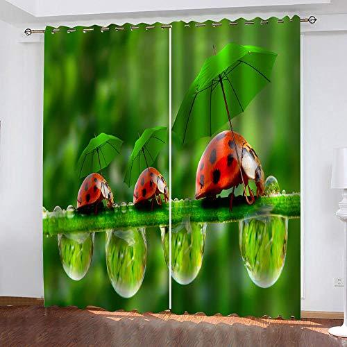 MXYHDZ Opacas Cortinas Dormitorio - Insecto de la Planta Cian Impresión 3D Aislantes de Frío y Calor 90% Opacas Cortinas - 220 x 215 cm Salon Cocina Habitacion Niño Moderna Decorativa