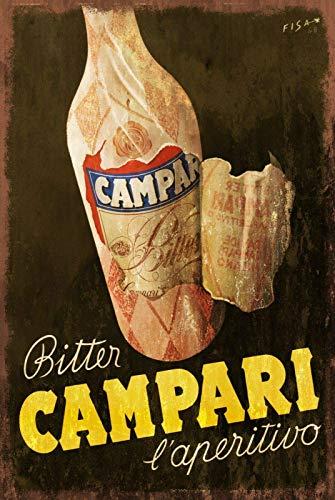 Campari Aperitif Dekor, 20,3 x 30,5 cm, Wanddekoration aus Metall für Küche, Garage, Bar