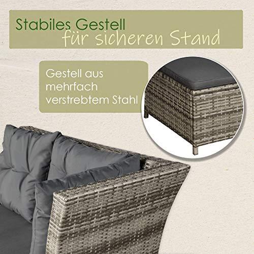 ArtLife Polyrattan Sitzgruppe Lounge Santa Catalina beige-grau | dunkelgraue Bezüge | Gartenmöbel-Set mit Ecksofa, Hocker & Tisch - 4