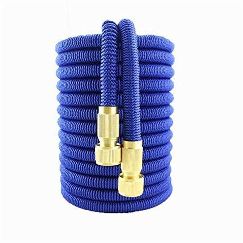 LXM - Manguera de jardín expandible de goma mágica flexible de alta presión para lavado de coche, tubo de rociado de jardín para exteriores (color: manguera azul, tamaño: 50 pies)